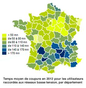 Carte de France des coupures d'électricité en 2012
